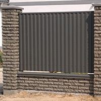 Забор из кирпича фагот с профнастилом