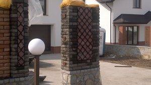 Кирпичный забор из колотых блоков