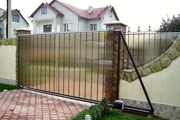 Ворота из поликарбоната, забор