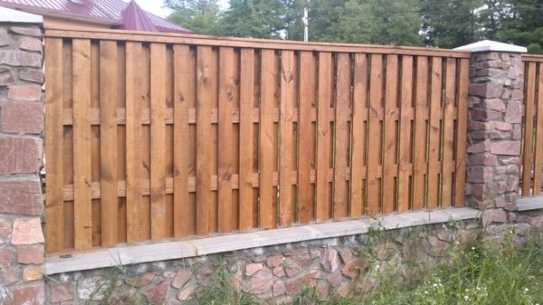 Дерево камень забор