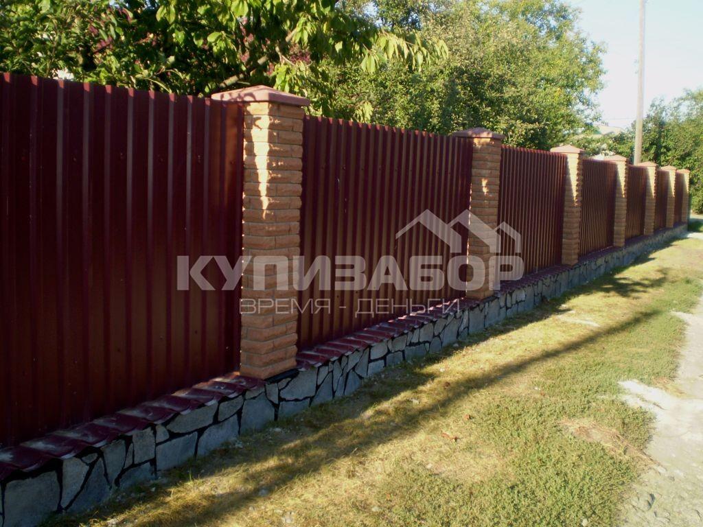Забор из кирпича и профнастила в киеве